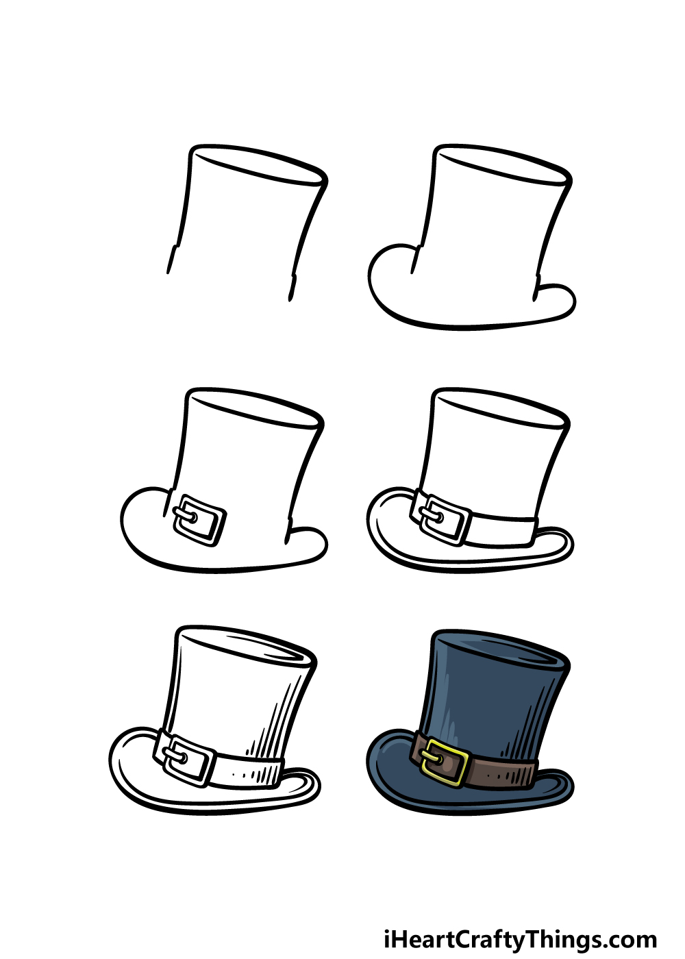 how to draw a top hat in 6 steps
