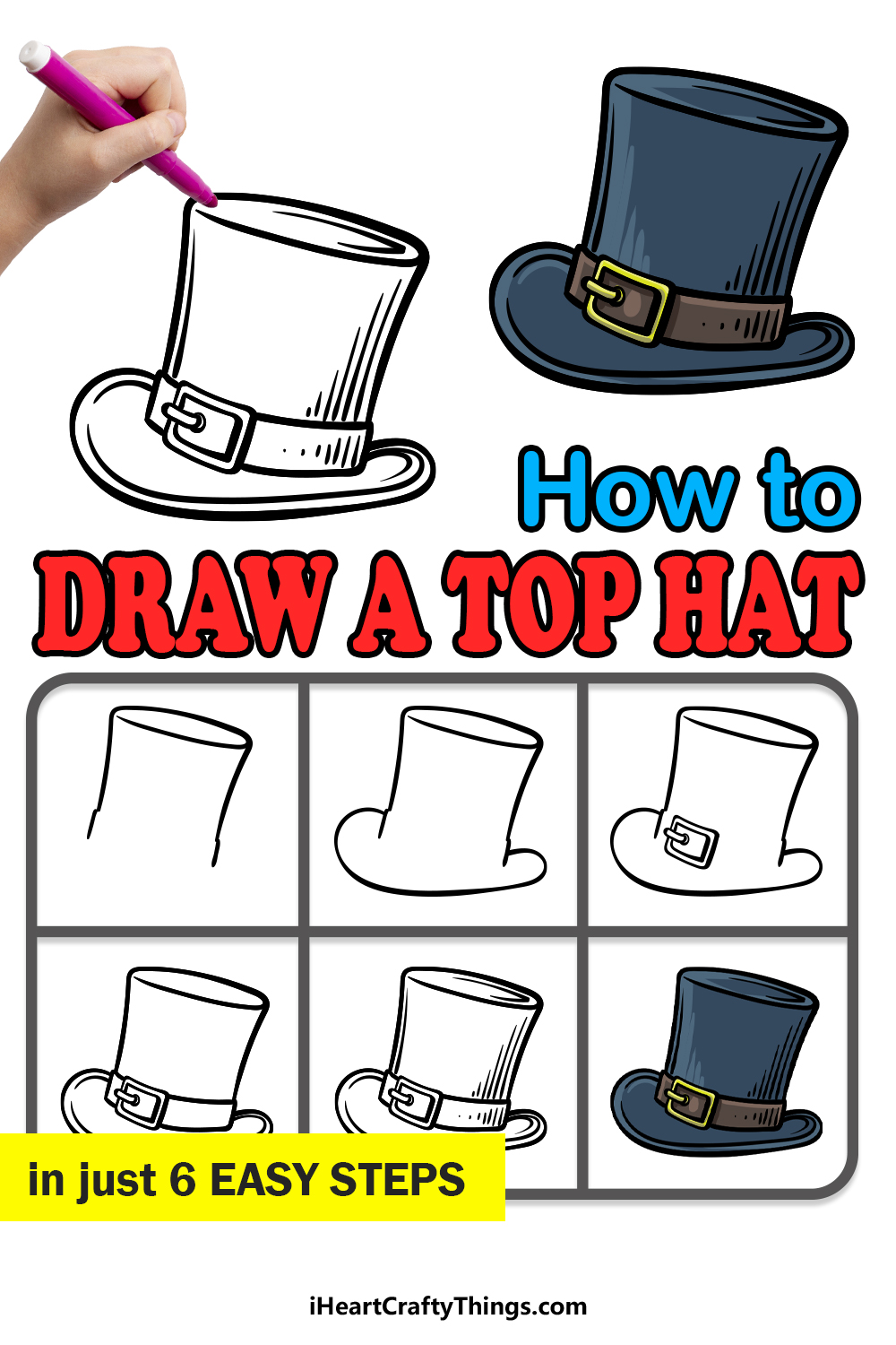 how to draw a top hat in 6 easy steps