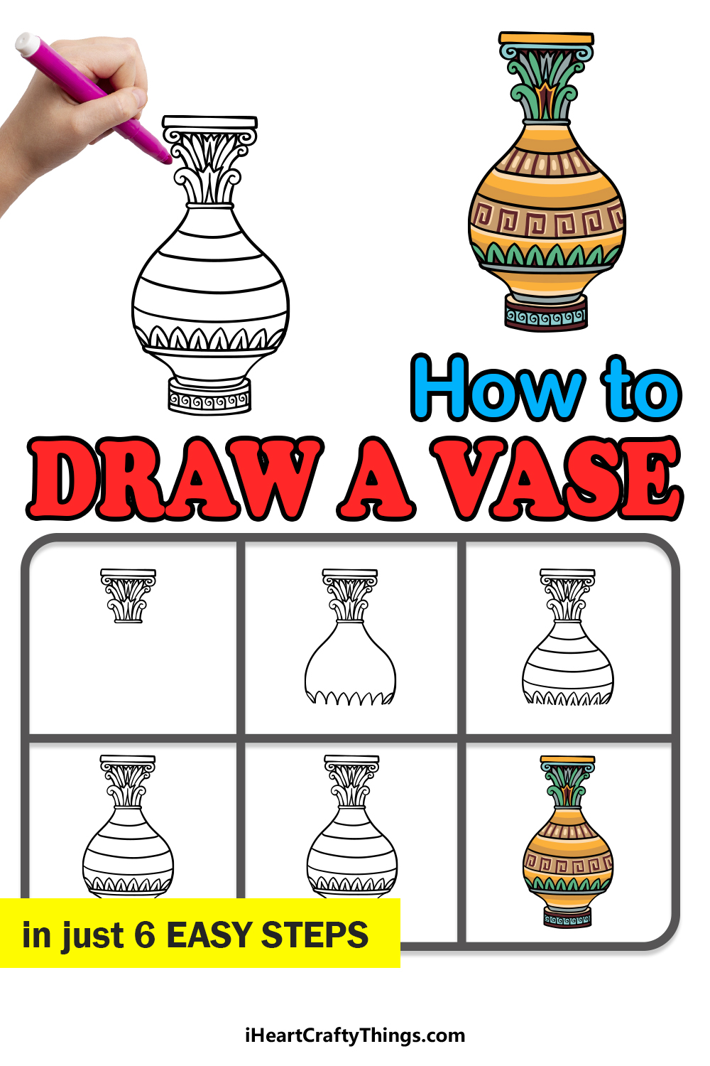 how to draw a vase in 6 easy steps