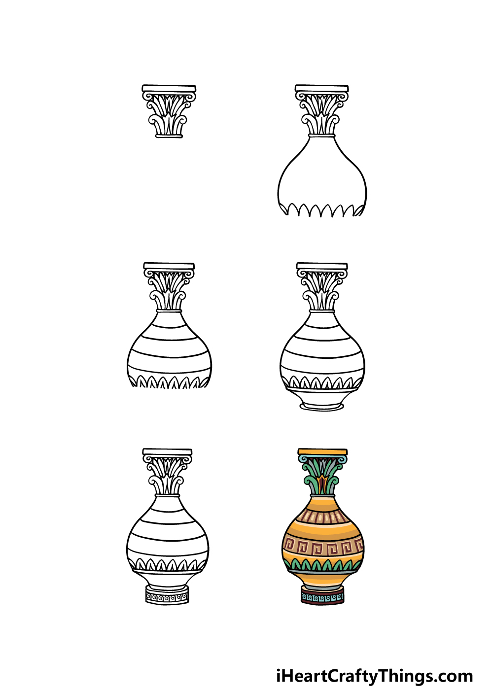 how to draw a vase in 6 steps
