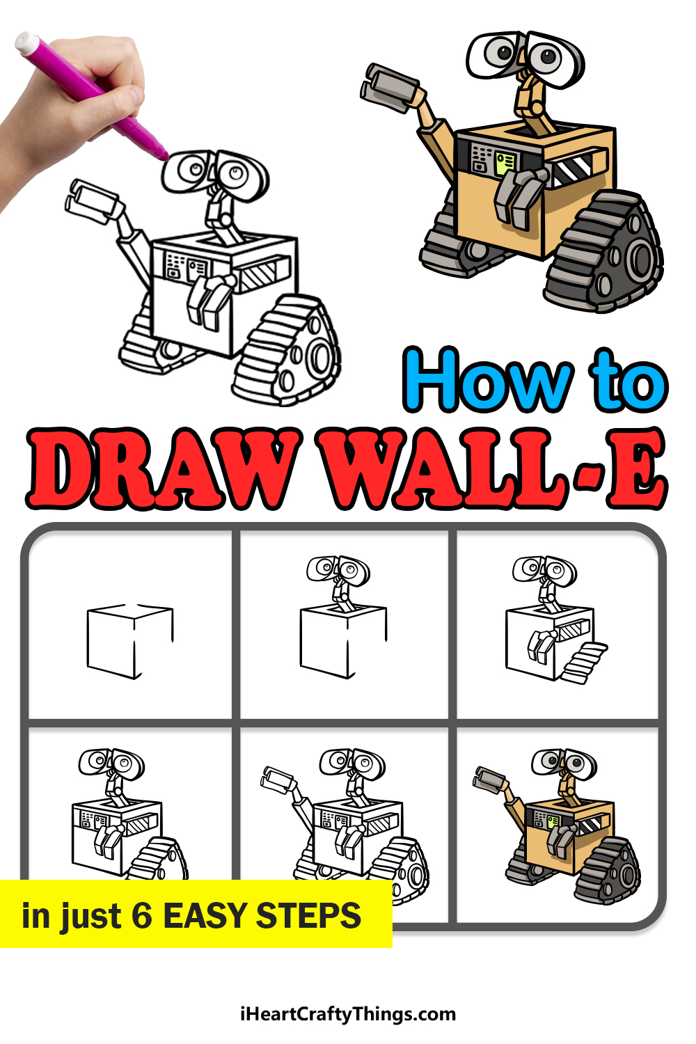 how to draw Wall-E in 6 easy steps