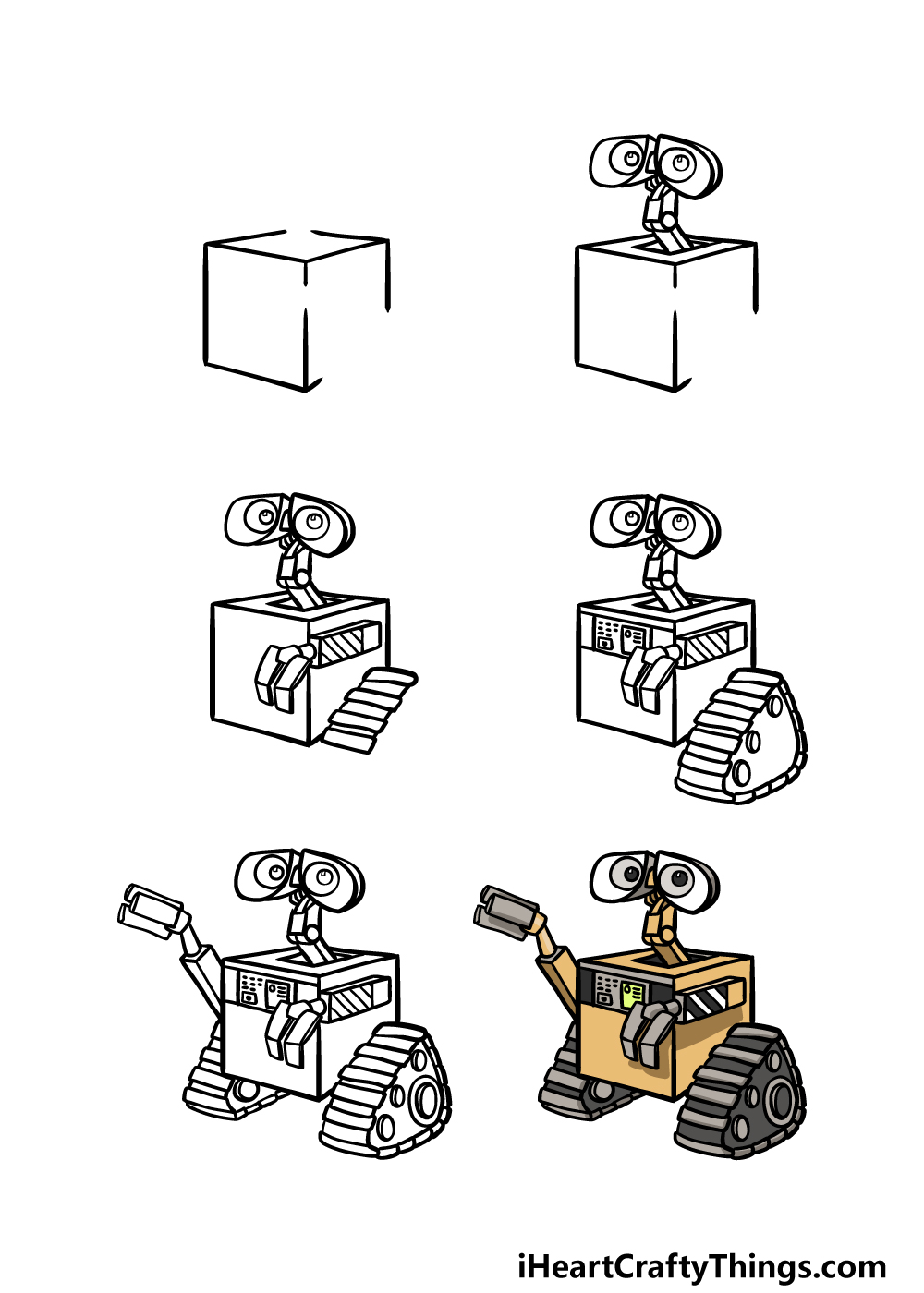 how to draw Wall-E in 6 steps