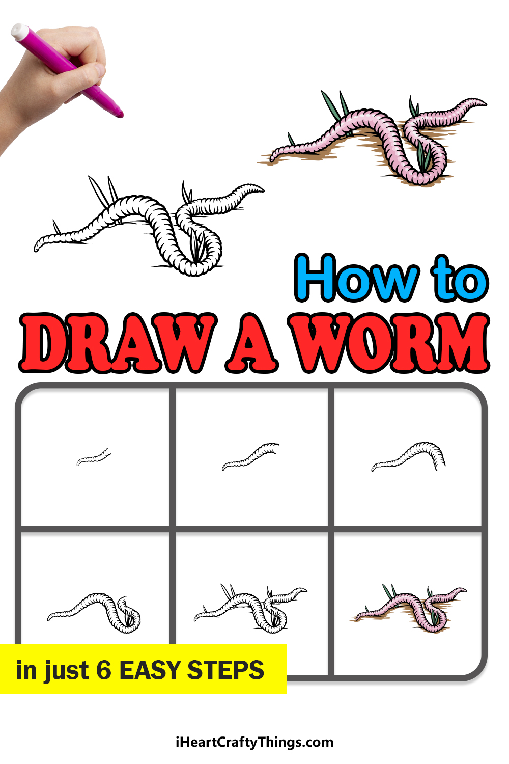 how to draw a worm in 6 easy steps