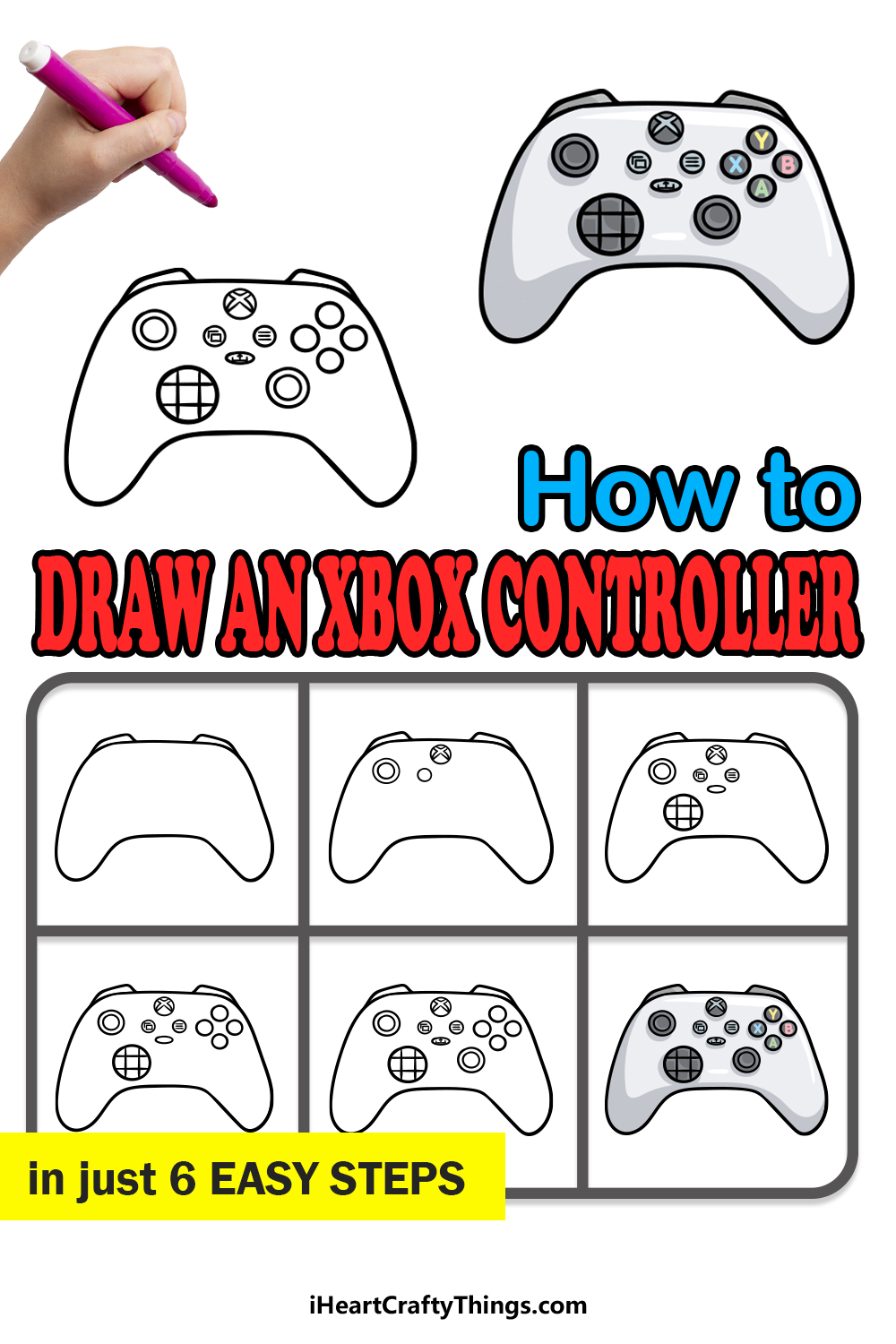 how to draw an Xbox Controller in 6 easy steps