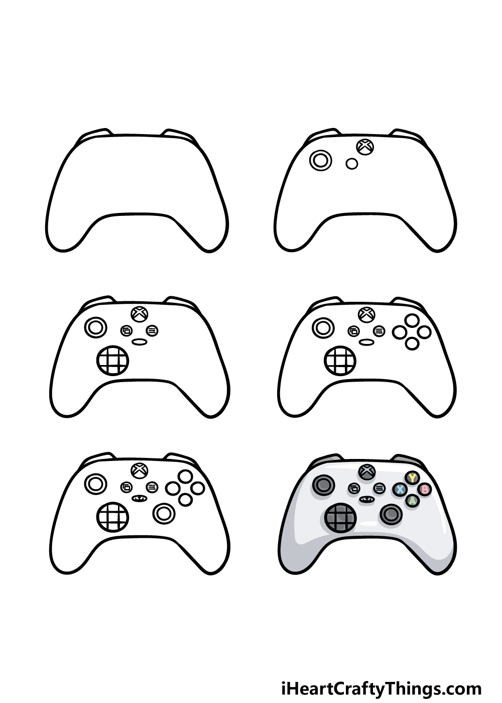 how to draw an Xbox Controller in 6 steps